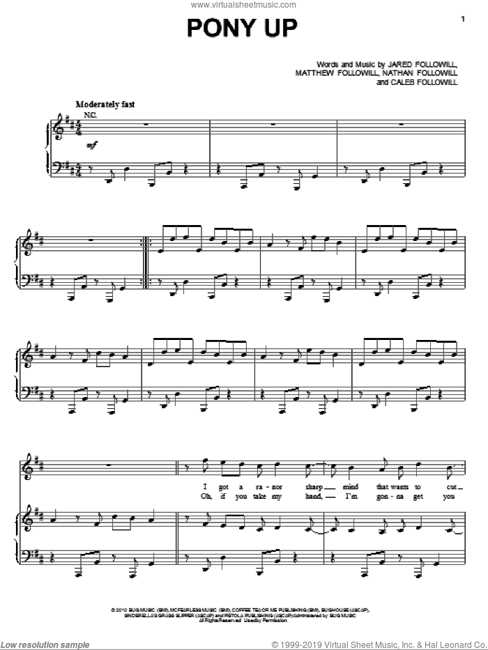 Pony Up sheet music for voice, piano or guitar by Kings Of Leon, Caleb Followill, Jared Followill, Matthew Followill and Nathan Followill, intermediate skill level