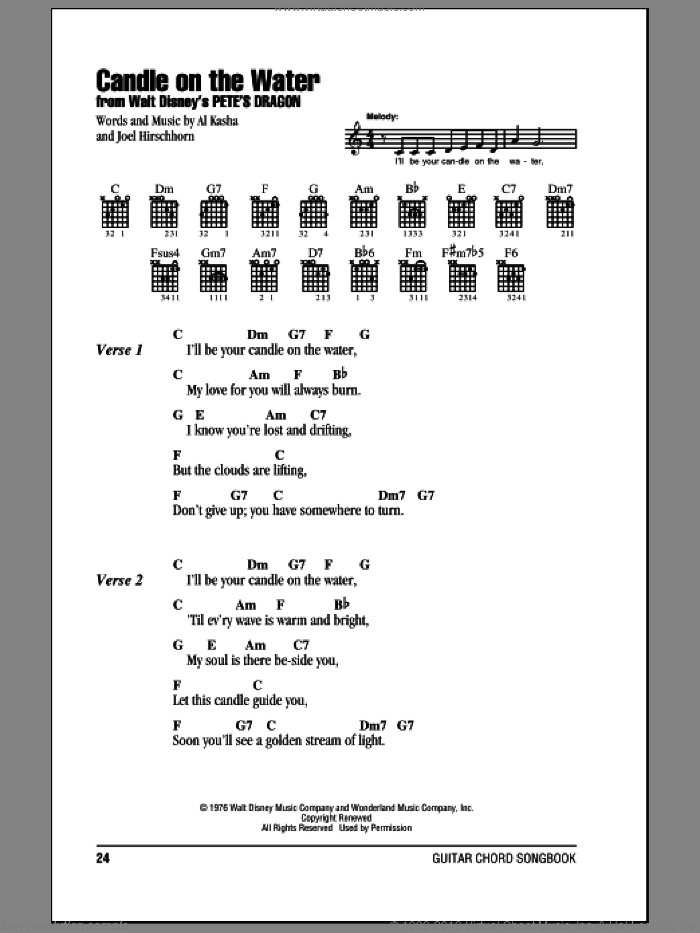 Candle On The Water sheet music for guitar (chords) by Al Kasha and Joel Hirschhorn, wedding score, intermediate skill level