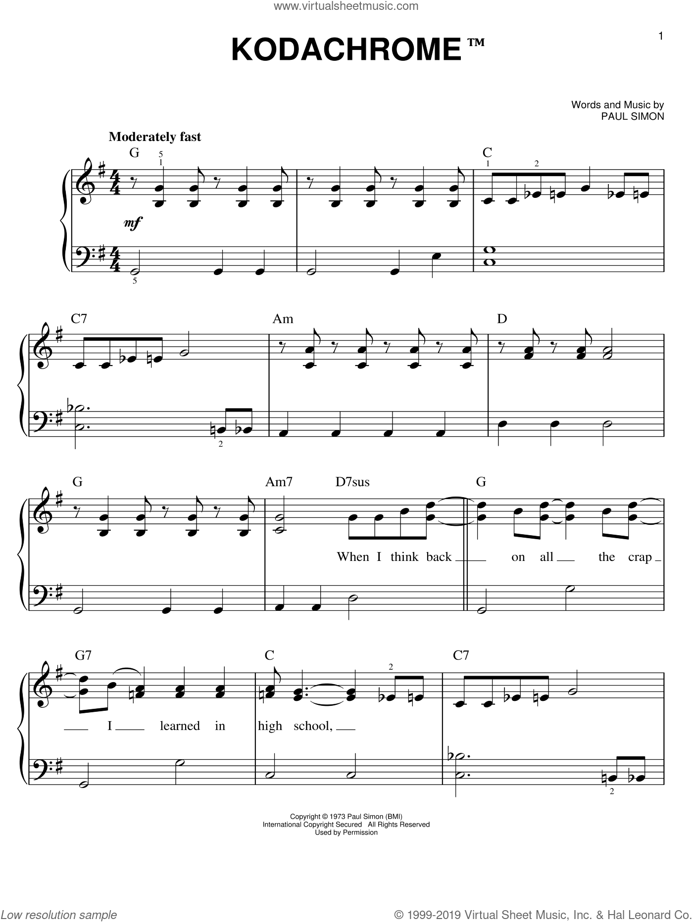 Kodachrome sheet music for piano solo by Paul Simon and Simon & Garfunkel, easy skill level