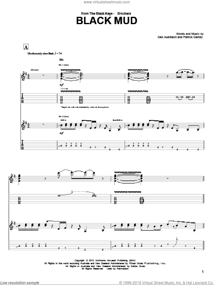 Black Mud sheet music for guitar (tablature) by Patrick Carney and Daniel Auerbach. Score Image Preview.