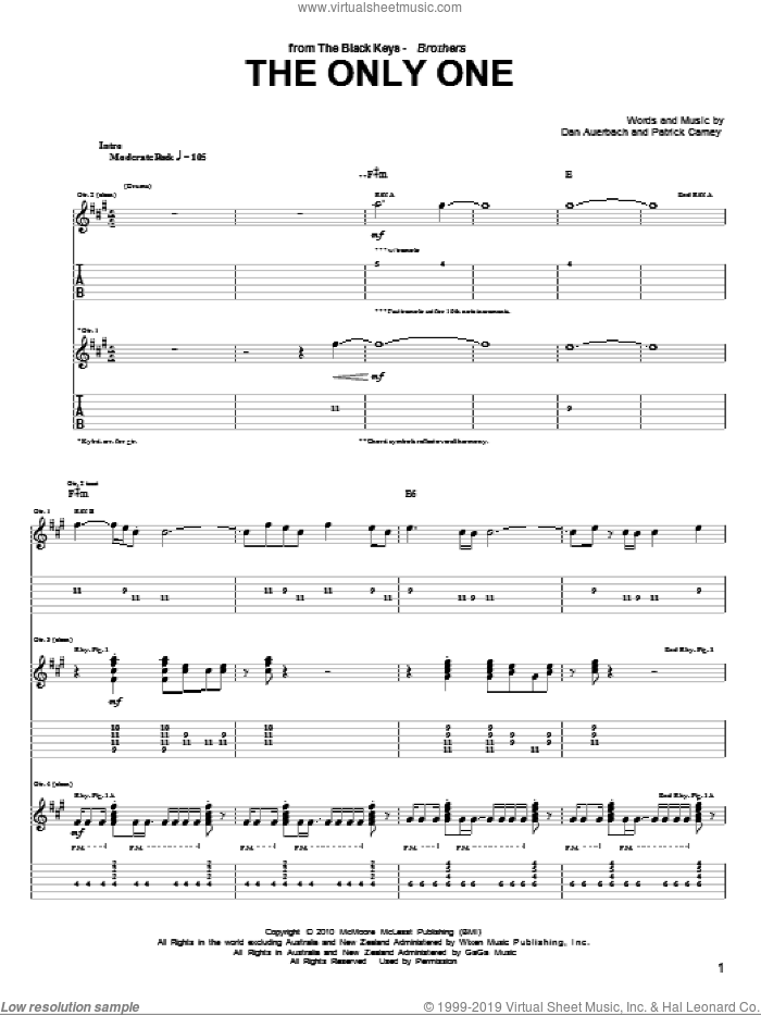The Only One sheet music for guitar (tablature) by Patrick Carney and Daniel Auerbach. Score Image Preview.