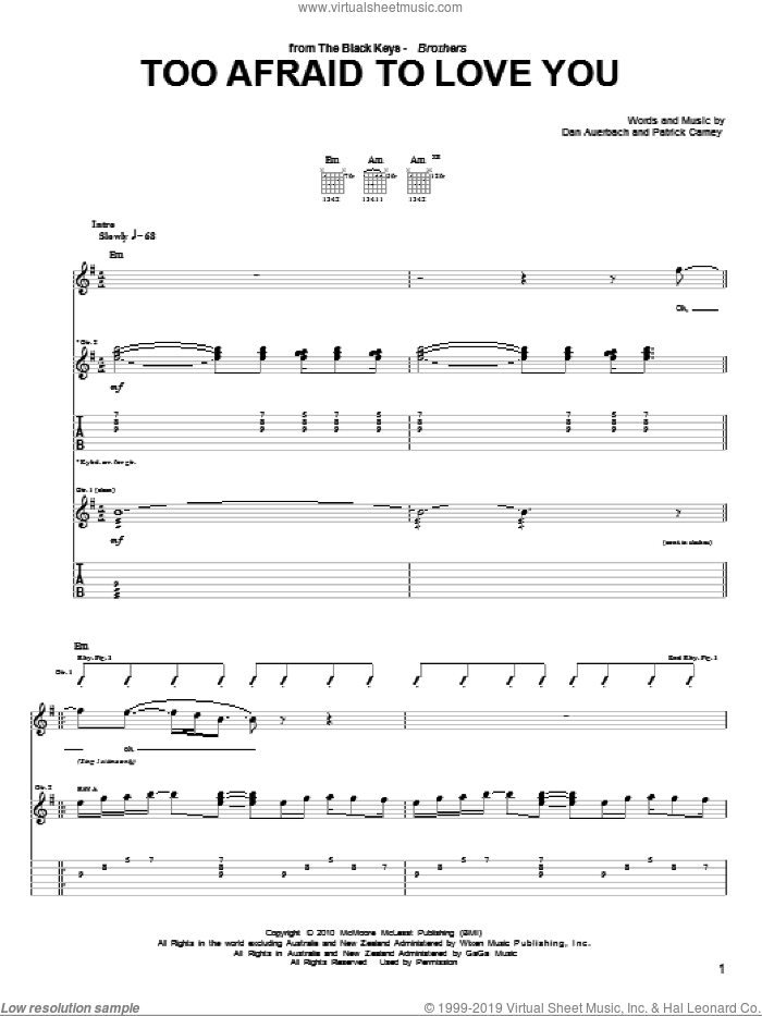 Too Afraid To Love You sheet music for guitar (tablature) by The Black Keys, Daniel Auerbach and Patrick Carney, intermediate. Score Image Preview.