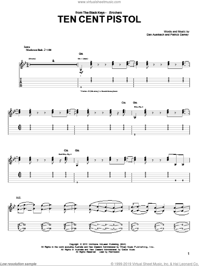 Ten Cent Pistol sheet music for guitar (tablature) by Patrick Carney and Daniel Auerbach. Score Image Preview.
