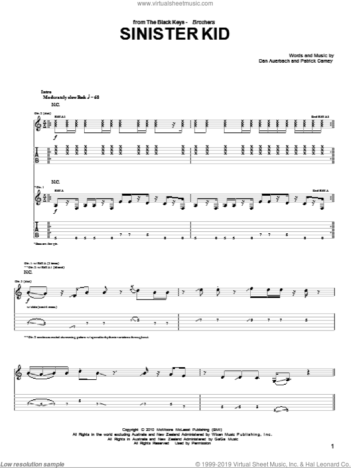 Sinister Kid sheet music for guitar (tablature) by Patrick Carney and Daniel Auerbach. Score Image Preview.