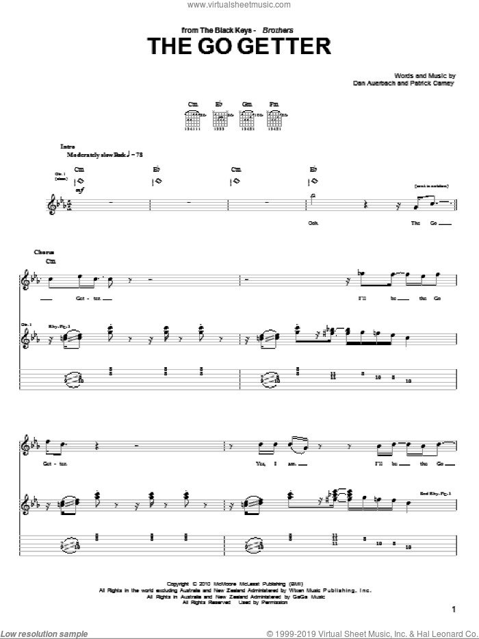 The Go Getter sheet music for guitar (tablature) by The Black Keys, Daniel Auerbach and Patrick Carney, intermediate skill level