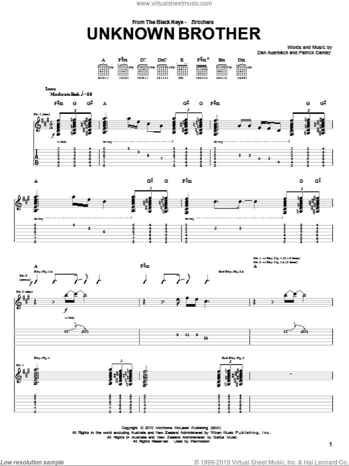 Unknown Brother sheet music for guitar (tablature) by The Black Keys, Daniel Auerbach and Patrick Carney, intermediate skill level
