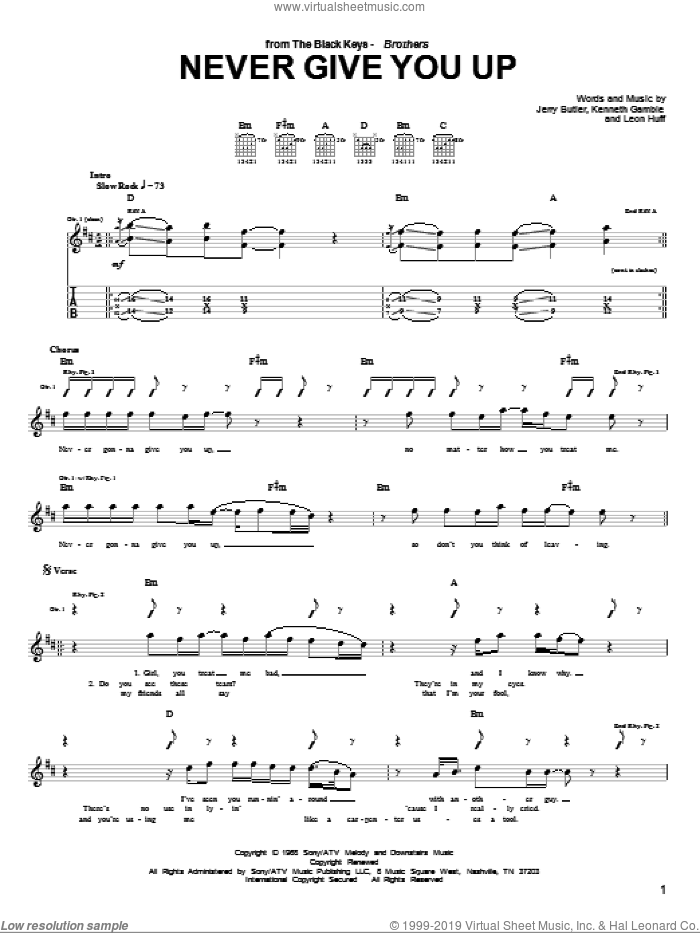 Never Give You Up sheet music for guitar (tablature) by Leon Huff, Jerry Butler and Kenneth Gamble. Score Image Preview.