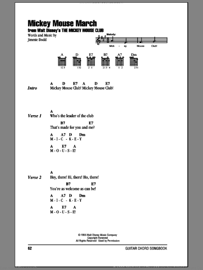 Mickey Mouse March sheet music for guitar (chords) by Jimmie Dodd