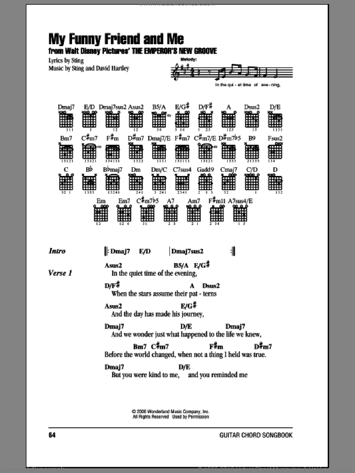 My Funny Friend And Me sheet music for guitar (chords, lyrics, melody) by David Hartley