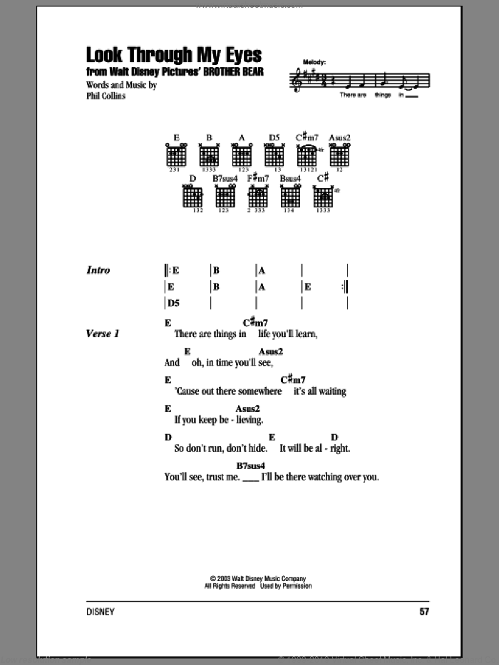 Look Through My Eyes sheet music for guitar (chords) by Phil Collins. Score Image Preview.