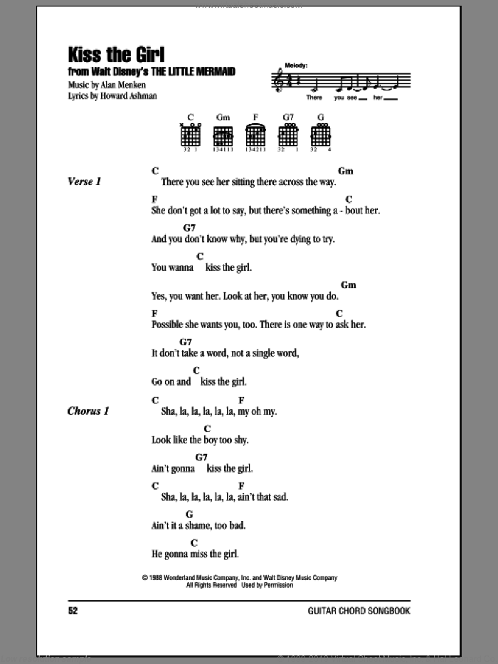 Kiss The Girl sheet music for guitar (chords) by Howard Ashman and Alan Menken. Score Image Preview.