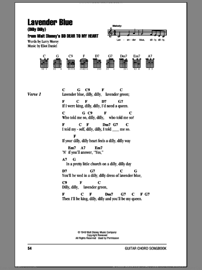 Lavender Blue (Dilly Dilly) sheet music for guitar (chords) by Burl Ives, Eliot Daniel and Larry Morey. Score Image Preview.
