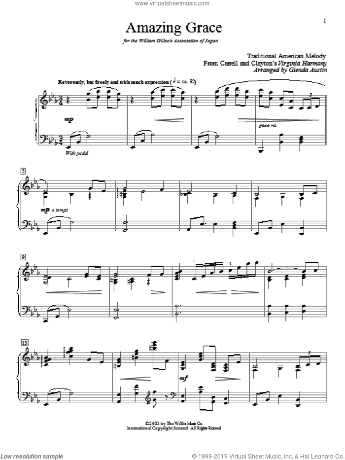 Amazing Grace sheet music for piano solo (elementary) by John Newton, Glenda Austin, Edwin O. Excell and Miscellaneous, beginner piano (elementary)