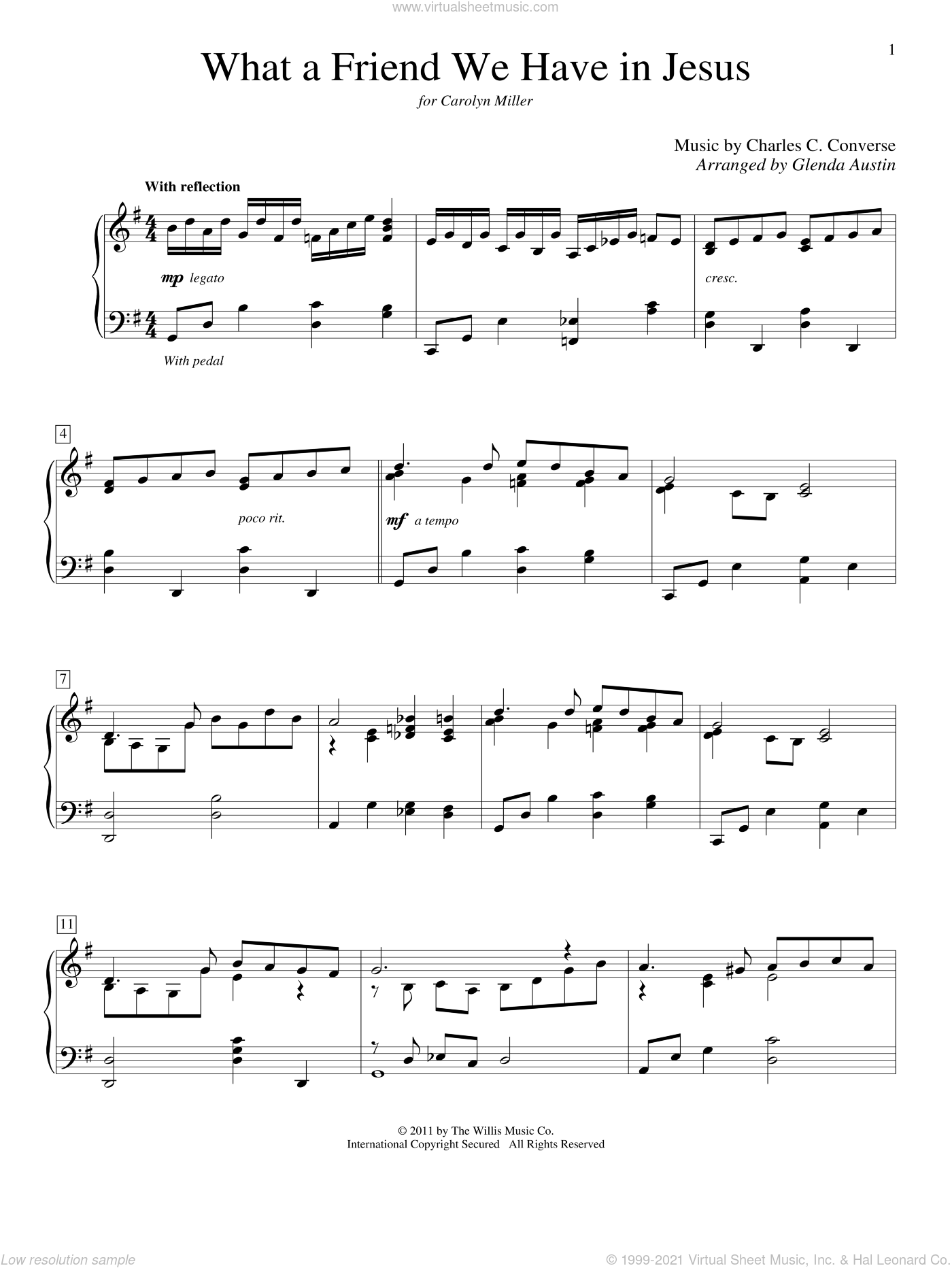 What A Friend We Have In Jesus sheet music for piano solo (elementary) by Joseph M. Scriven, Glenda Austin and Charles C. Converse, beginner piano (elementary)