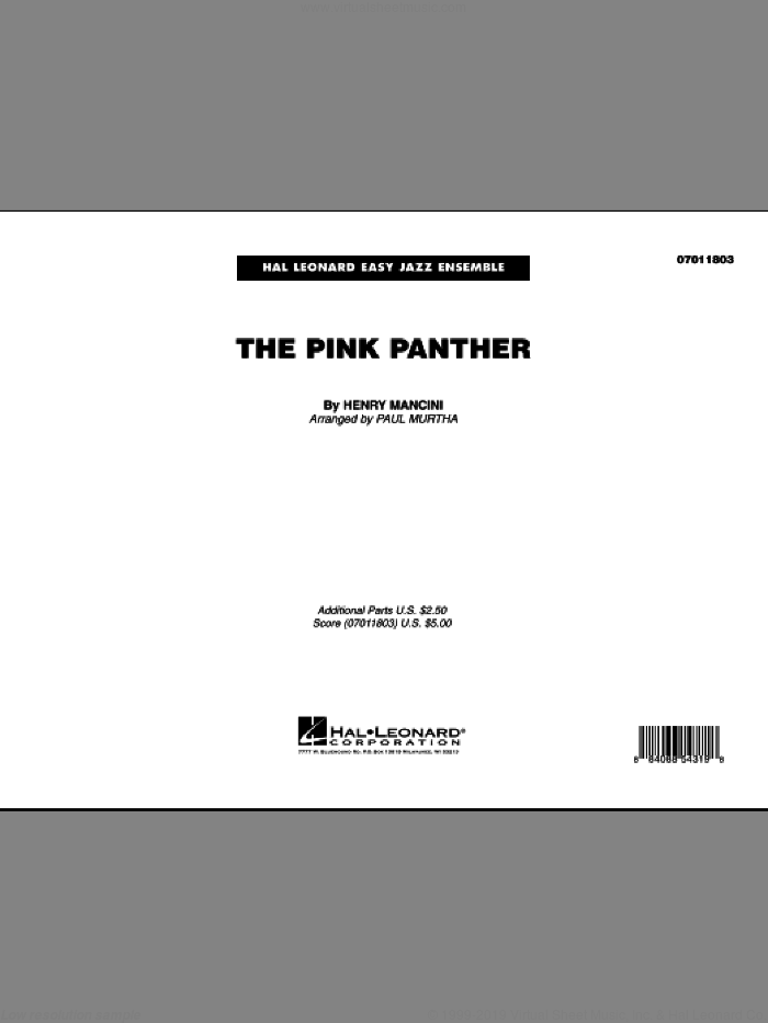 The Pink Panther (COMPLETE) sheet music for jazz band by Henry Mancini and Paul Murtha, intermediate skill level