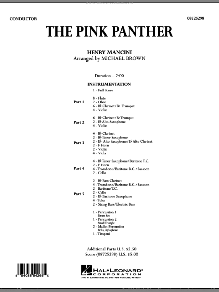 The Pink Panther, complete collection (COMPLETE) sheet music for concert band by Henry Mancini and Michael Brown, intermediate skill level