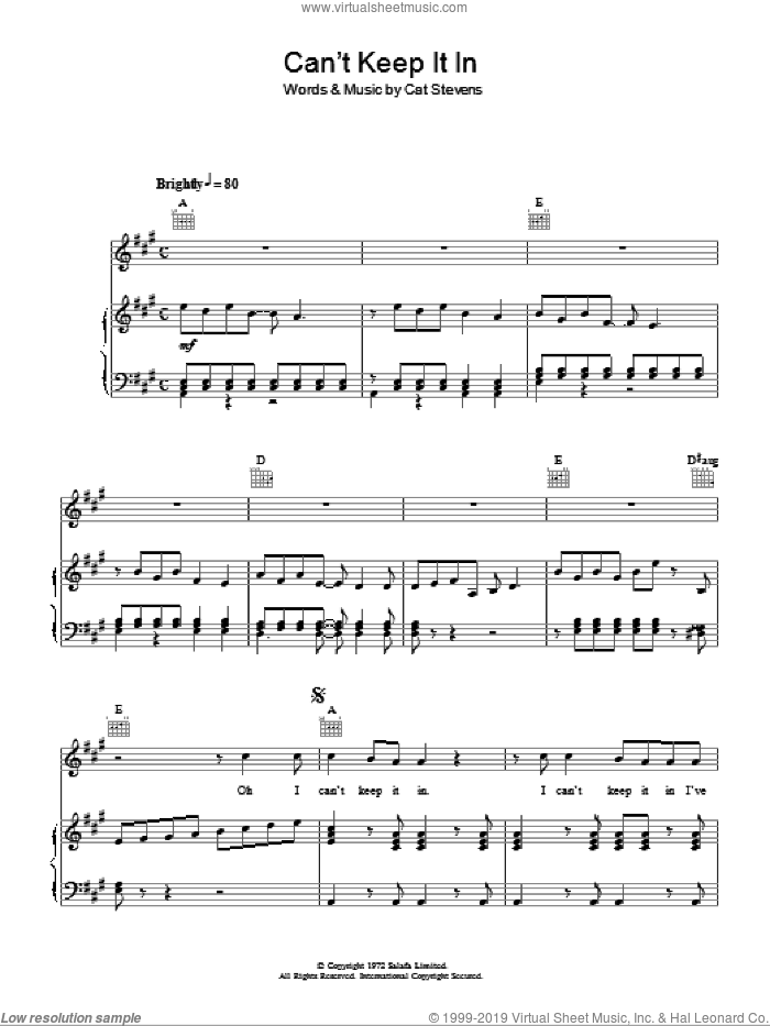 Can't Keep It In sheet music for voice, piano or guitar by Cat Stevens