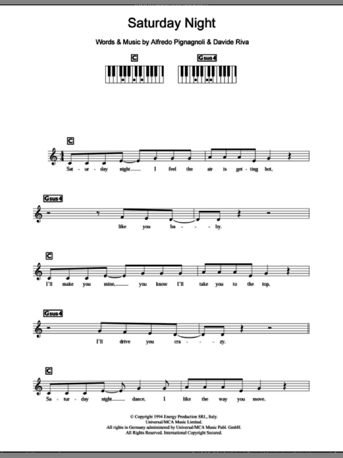 Saturday Night sheet music for piano solo (chords, lyrics, melody) by Davide Riva