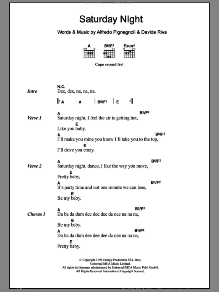 Saturday Night sheet music for guitar (chords) by Whigfield and Davide Riva. Score Image Preview.