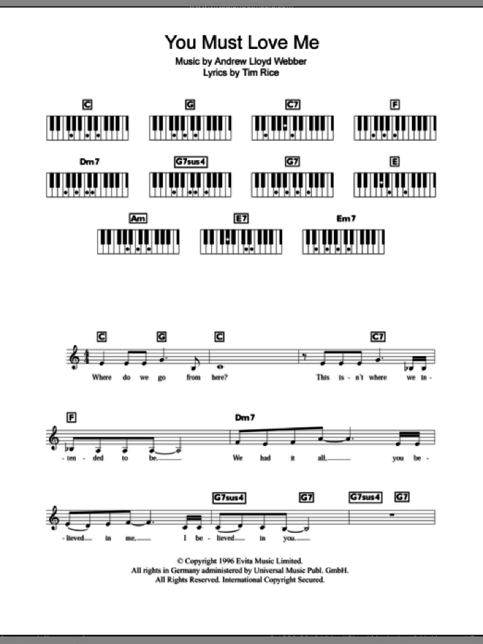 You Must Love Me sheet music for piano solo (chords, lyrics, melody) by Tim Rice and Andrew Lloyd Webber. Score Image Preview.