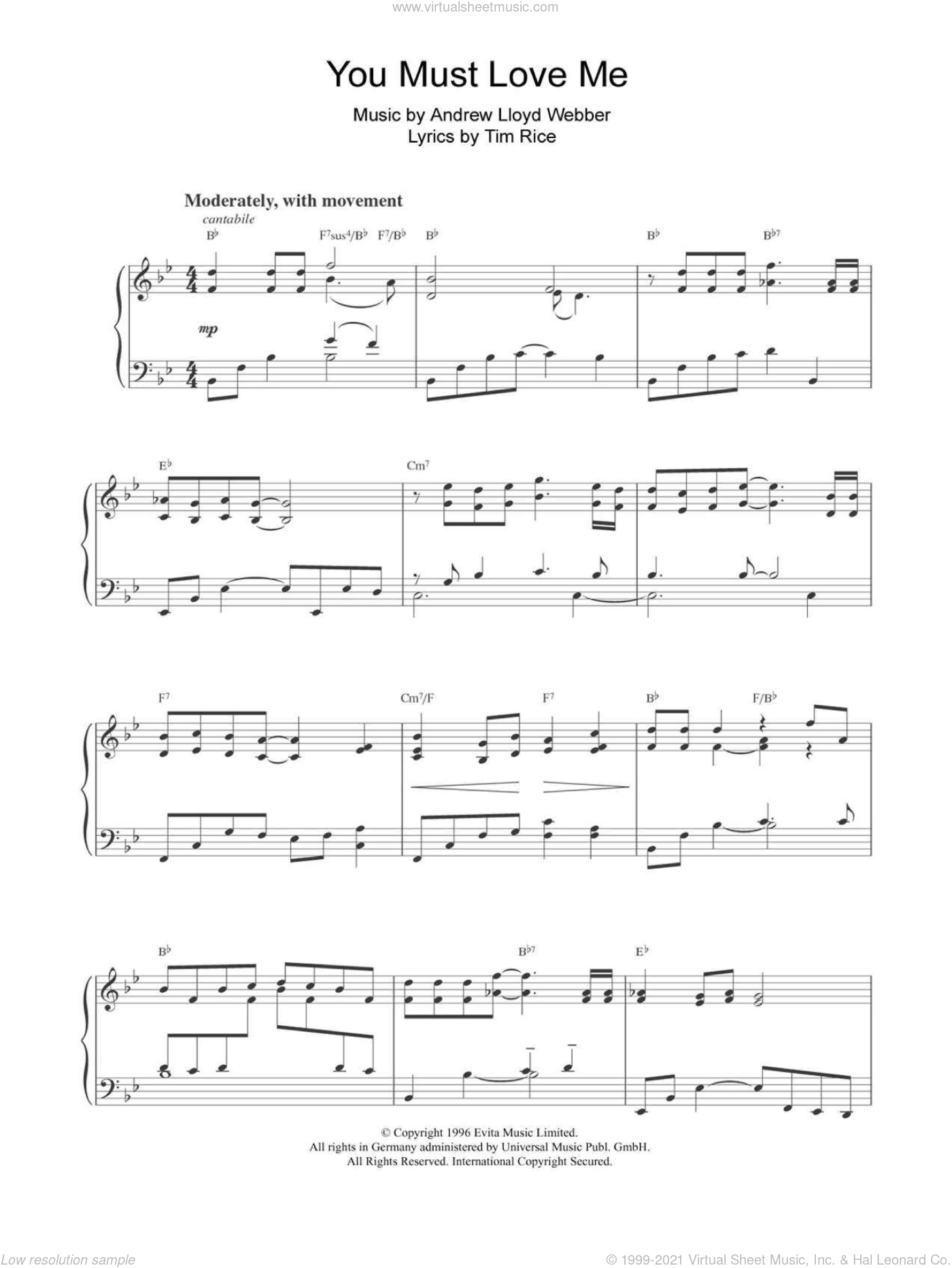 You Must Love Me sheet music for piano solo by Tim Rice and Andrew Lloyd Webber. Score Image Preview.