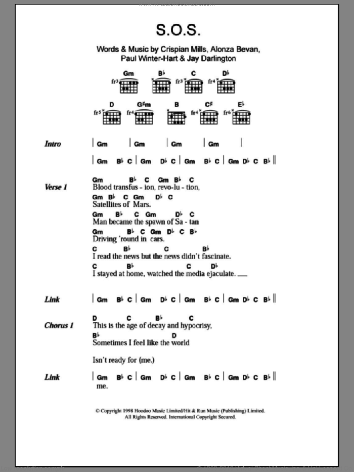 S.O.S. sheet music for guitar (chords) by Paul Winter-Hart, Kula Shaker, Alonza Bevan and Crispian Mills. Score Image Preview.