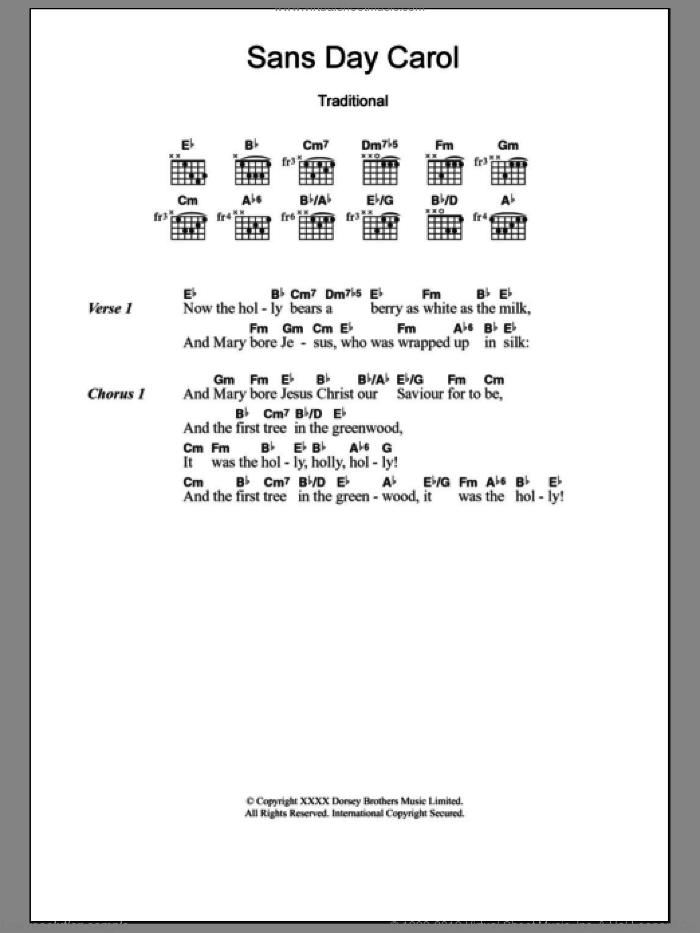 Sans Day Carol sheet music for guitar (chords) [PDF]