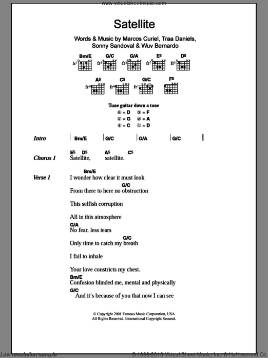 Satellite sheet music for guitar (chords) by Wuv Bernardo