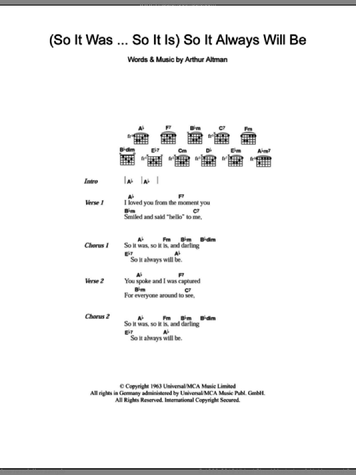 (So It Was...So It Is) So It Always Will Be sheet music for guitar (chords) by Arthur Altman