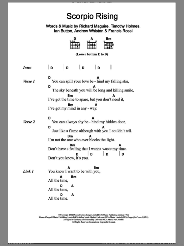 Scorpio Rising sheet music for guitar (chords) by Death In Vegas, intermediate guitar (chords). Score Image Preview.
