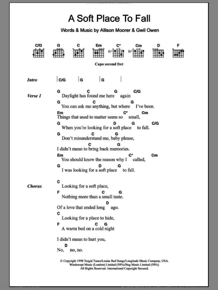 A Soft Place To Fall sheet music for guitar (chords) by Allison Moorer, intermediate