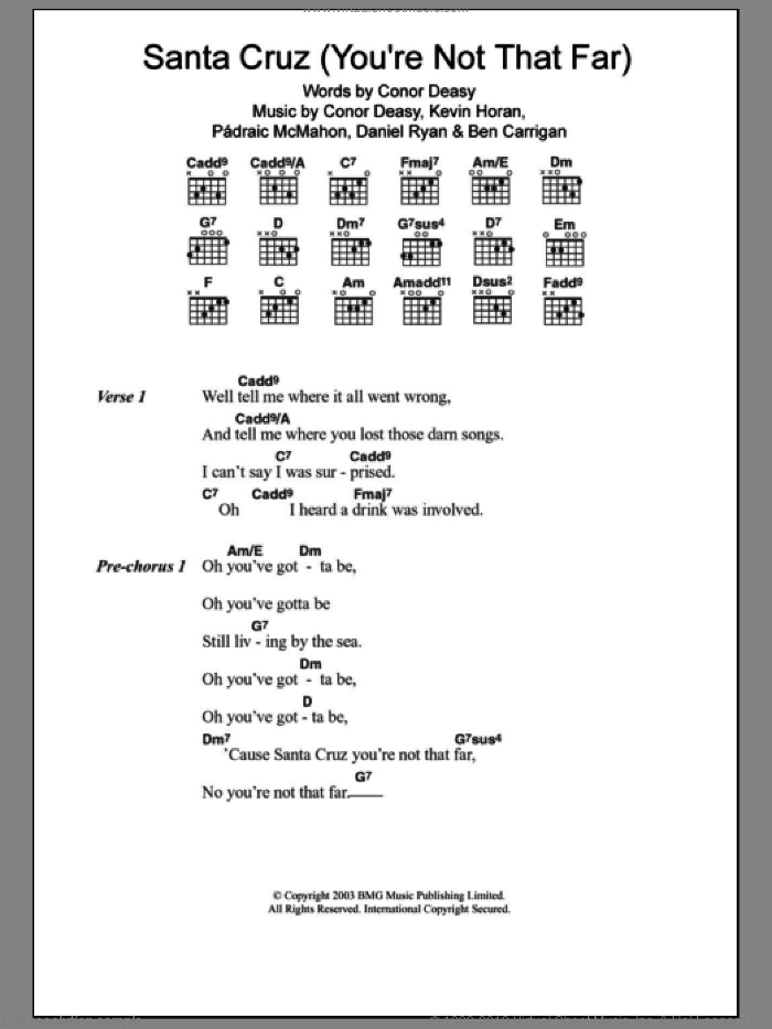 Santa Cruz (you're Not That Far) sheet music for guitar (chords) by Padraic McMahon, The Thrills and Daniel Ryan. Score Image Preview.