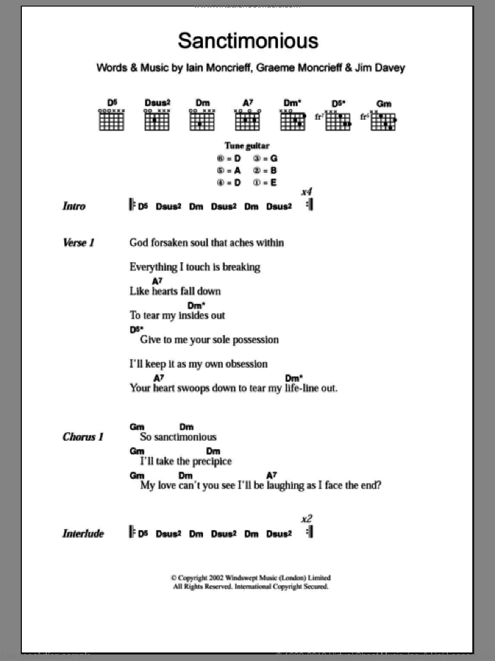 Sanctimonious sheet music for guitar (chords) by Halo, Graeme Moncrieff, Iain Moncrieff and Jim Davey, intermediate. Score Image Preview.