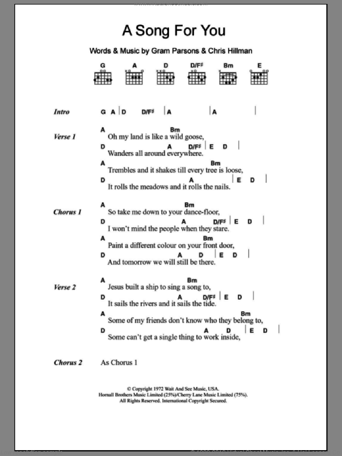 A Song For You sheet music for guitar (chords) by Chris Hillman and Gram Parsons. Score Image Preview.
