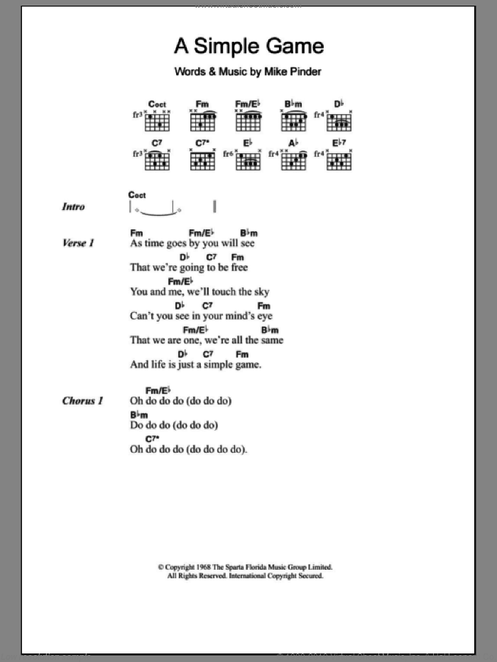 A Simple Game sheet music for guitar (chords, lyrics, melody) by Mike Pinder