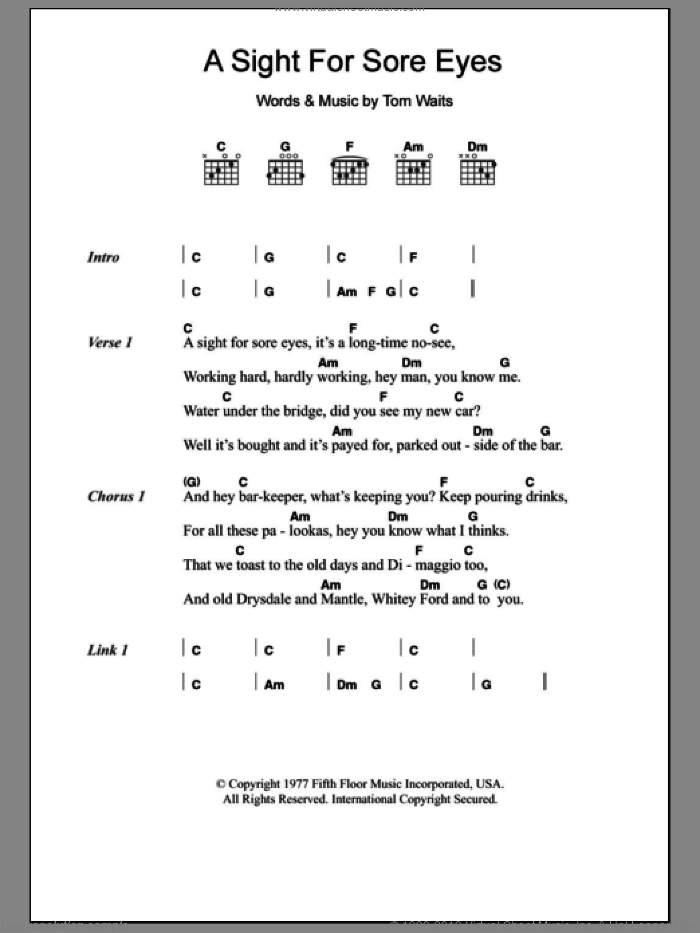 A Sight For Sore Eyes sheet music for guitar (chords) by Tom Waits, intermediate skill level