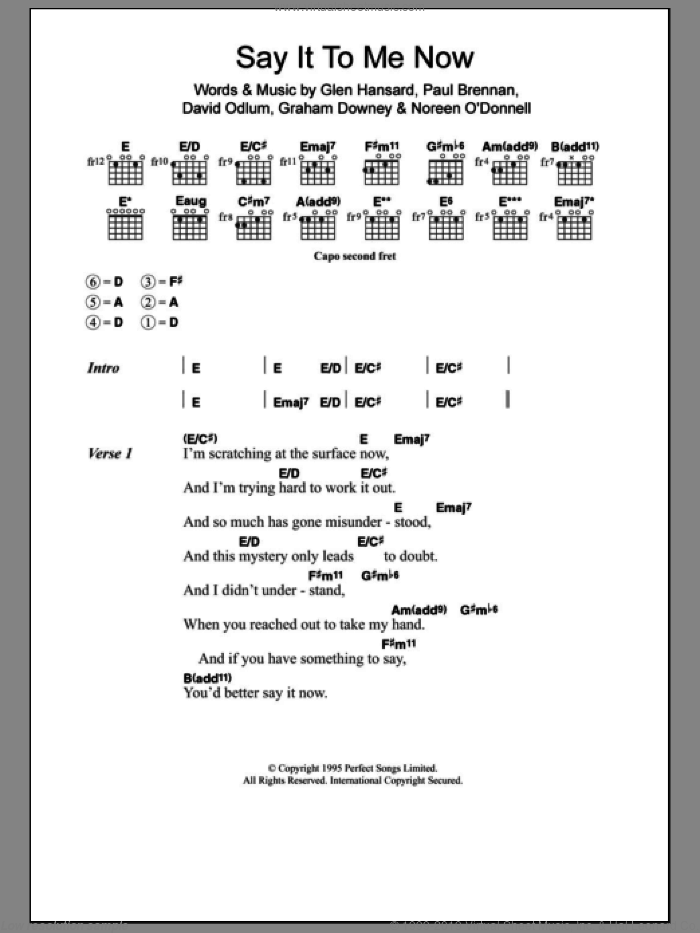 Say It To Me Now sheet music for guitar (chords) by Paul Brennan, The Frames, David Odlum and Glen Hansard