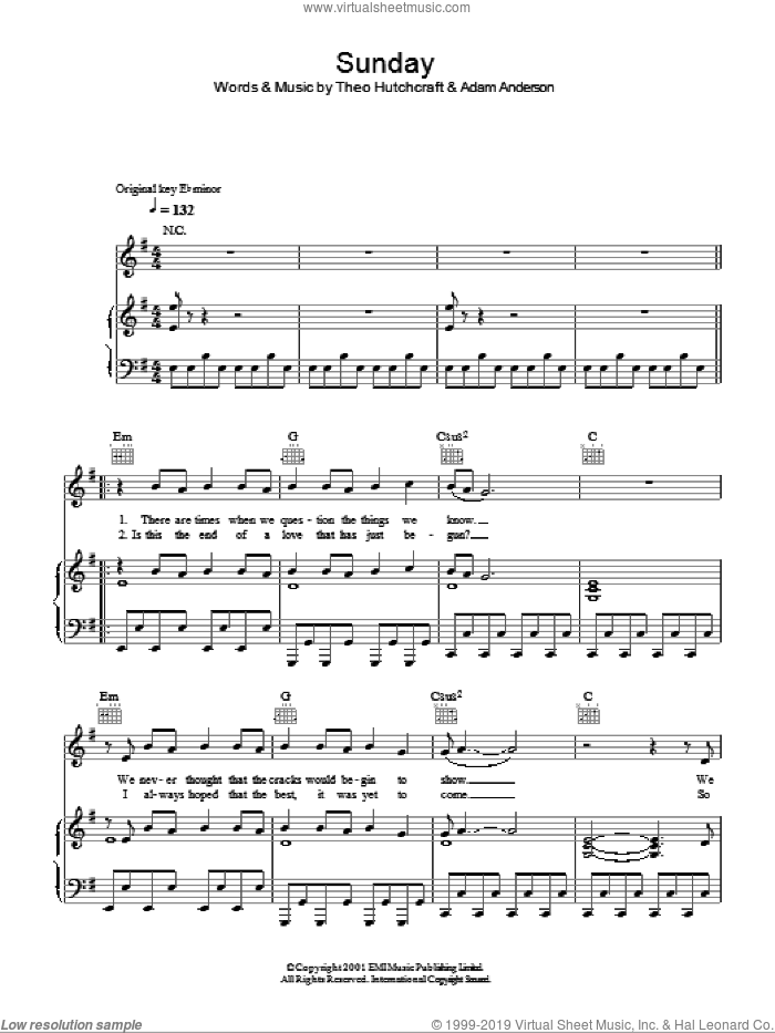 Sunday sheet music for voice, piano or guitar by Theo Hutchcraft. Score Image Preview.
