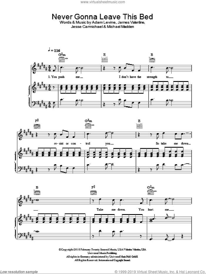 Never Gonna Leave This Bed sheet music for voice, piano or guitar by Maroon 5, Adam Levine, James Valentine, Jesse Carmichael and Michael Madden, intermediate voice, piano or guitar. Score Image Preview.