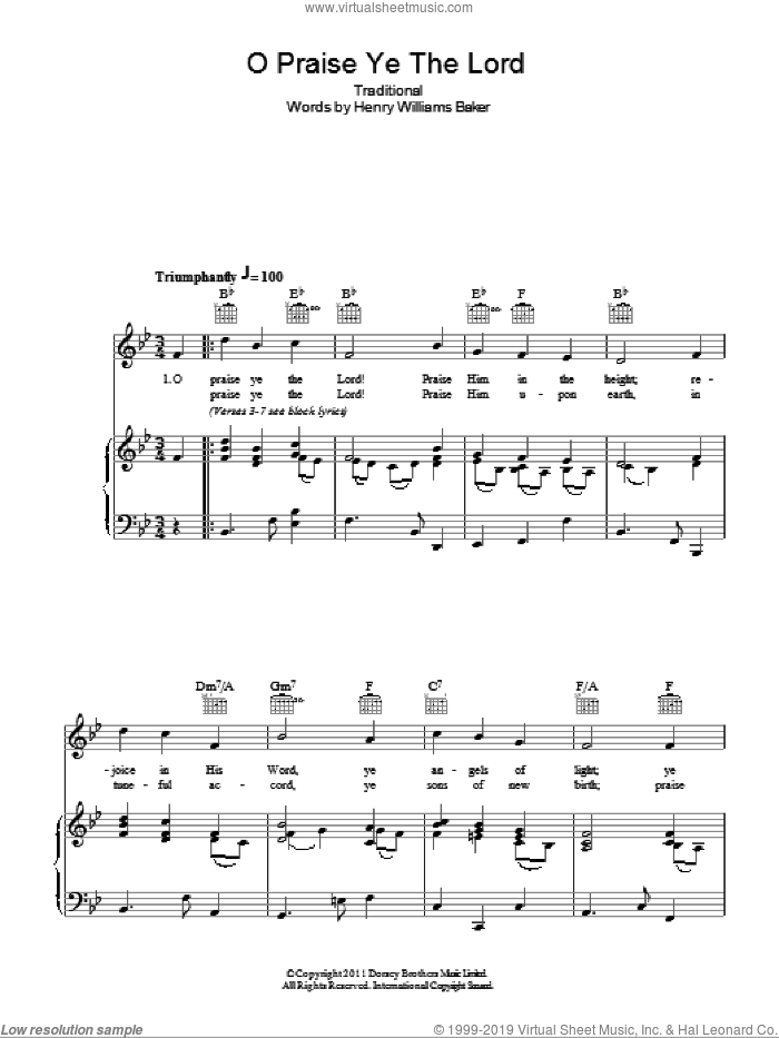 O Praise Ye The Lord sheet music for voice, piano or guitar  and Henry Williams Baker, intermediate. Score Image Preview.