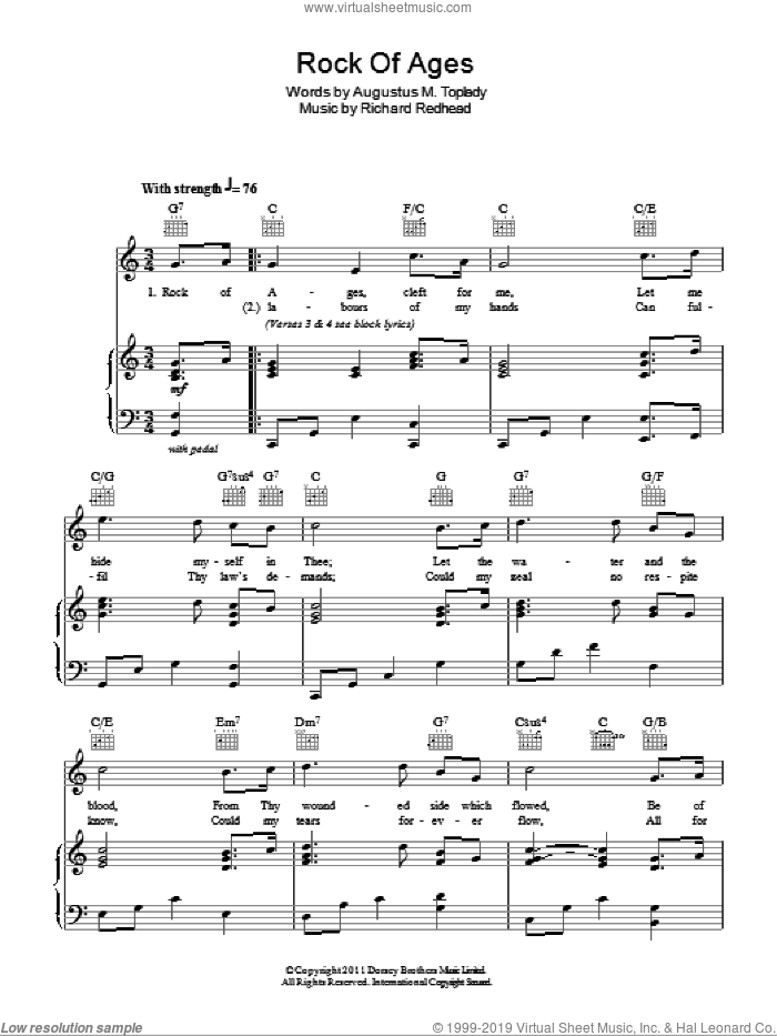 Rock Of Ages sheet music for voice, piano or guitar by Richard Redhead and Augustus M. Toplady, intermediate. Score Image Preview.
