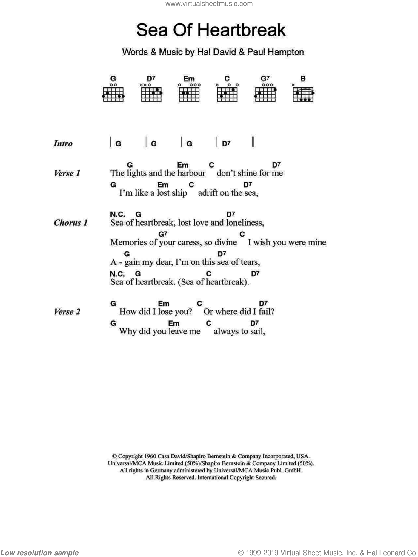 Sea Of Heartbreak sheet music for guitar (chords) by Don Gibson, Hal David and Paul Hampton, intermediate. Score Image Preview.