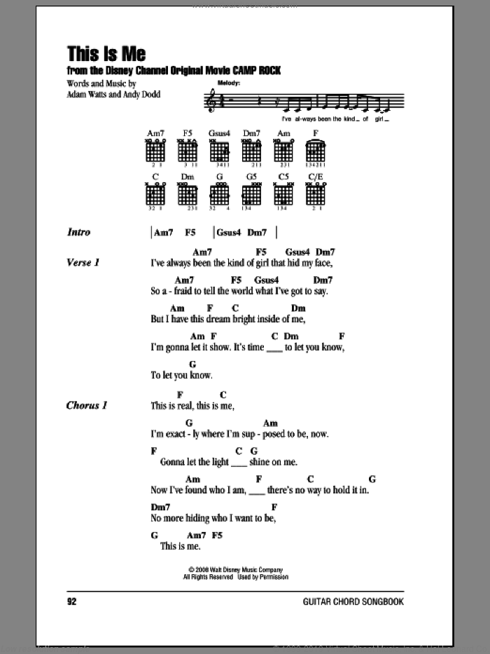 This Is Me sheet music for guitar (chords) by Demi Lovato, Camp Rock (Movie), Jonas Brothers, Adam Watts and Andy Dodd, intermediate skill level