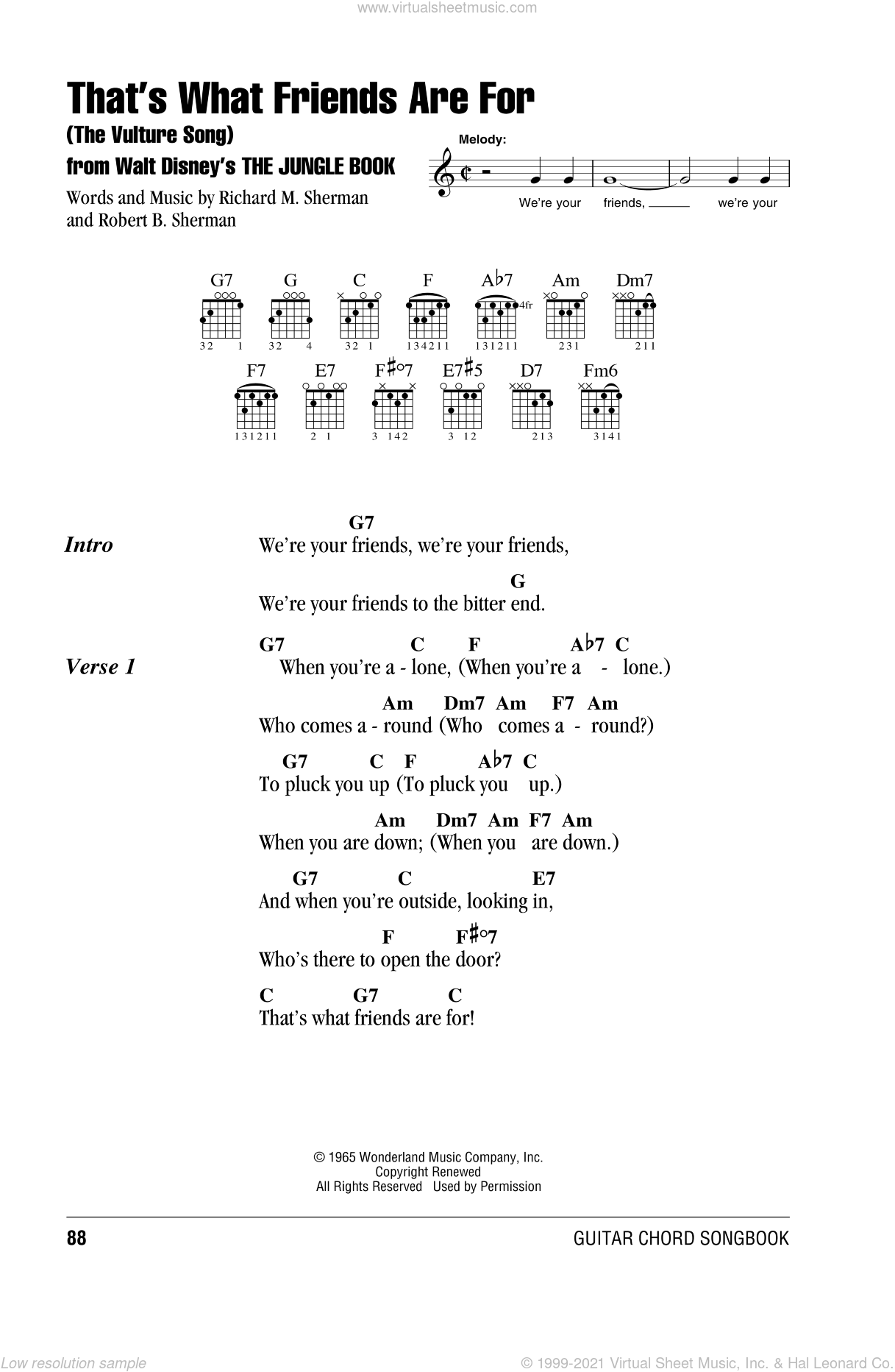 Brothers That S What Friends Are For The Vulture Song From The Jungle Book Sheet Music For Guitar Chords