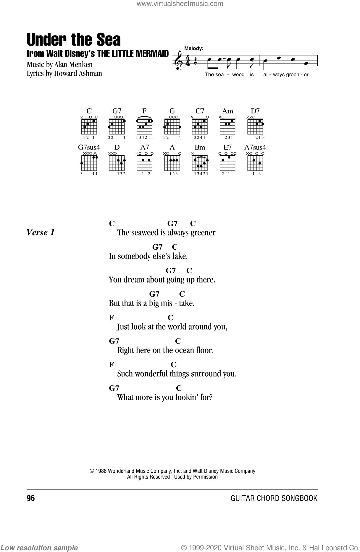 Menken - Under The Sea sheet music for guitar (chords) [PDF]
