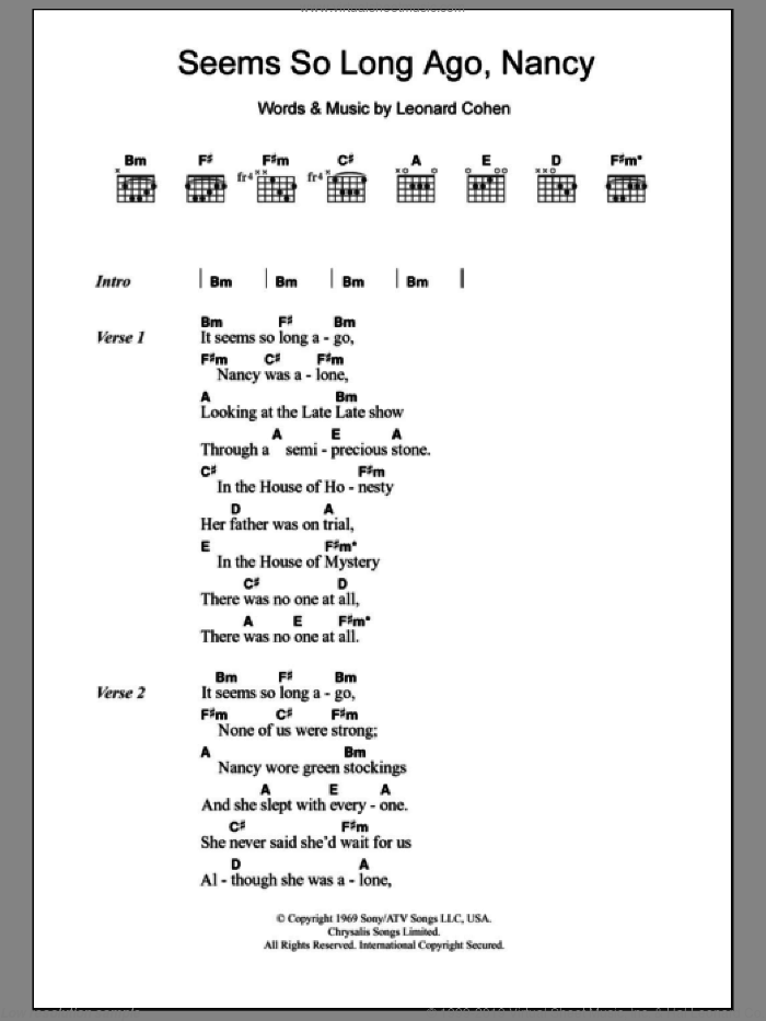 Seems So Long Ago, Nancy sheet music for guitar (chords) by Leonard Cohen. Score Image Preview.