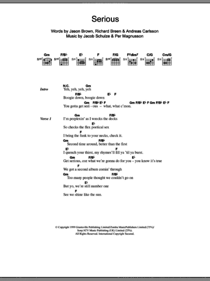 Serious sheet music for guitar (chords) by Richard Breen