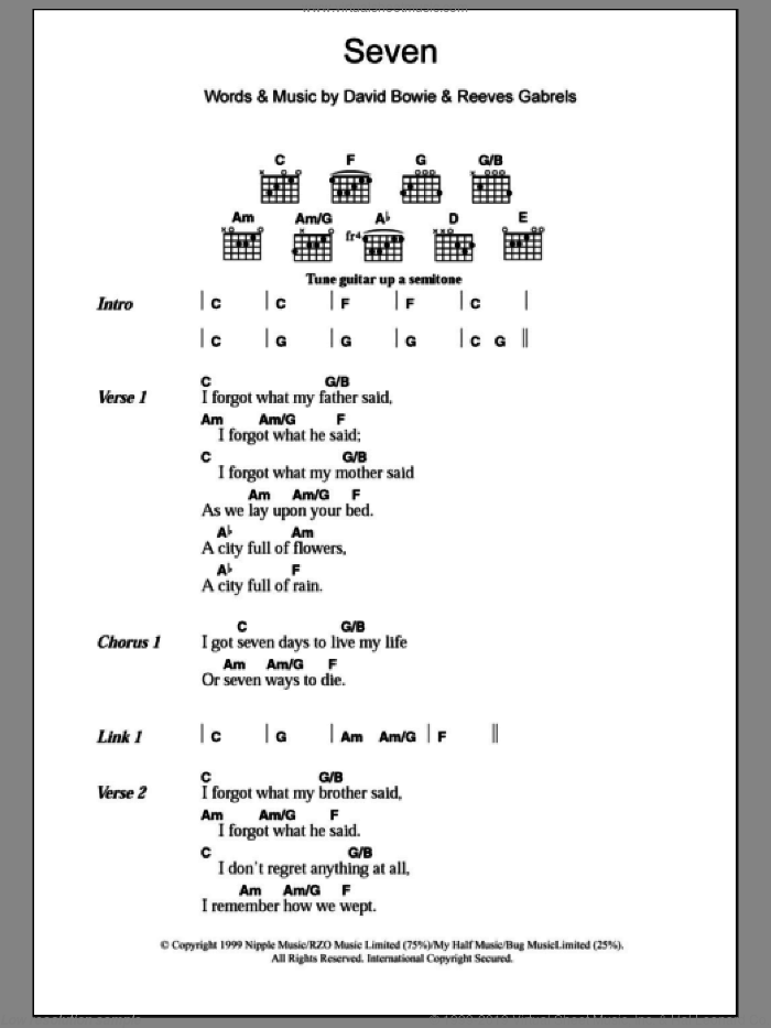 Seven sheet music for guitar (chords) by David Bowie and Reeves Gabrels, intermediate skill level