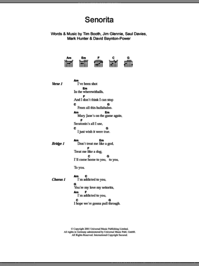 Senorita sheet music for guitar (chords) by Alex James, David Baynton-Power, Jim Glennie, Mark Hunter, Saul Davies and Tim Booth, intermediate