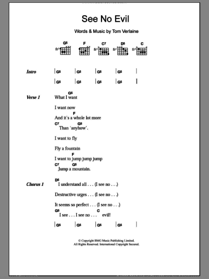 See No Evil sheet music for guitar (chords) by Tom Verlaine. Score Image Preview.